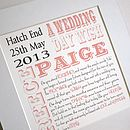Personalised wedding day print with verse