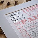Personalised wedding day print design 1