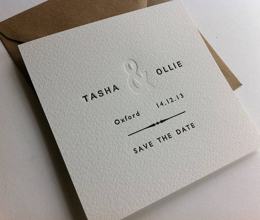 letterpress save the date by little red press | notonthehighstreet.com