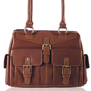 Leather Tote Handbag With Twin Handles