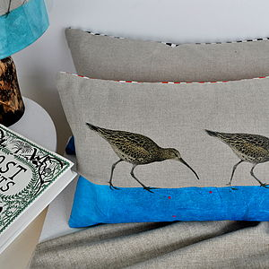 Curlew Linen Cushion - bedroom