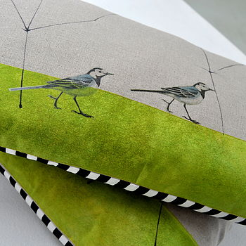 Pied Wagtail Linen Cushion