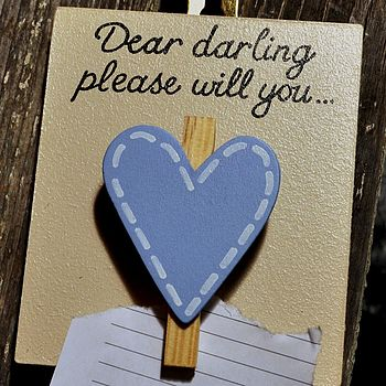 Hand Painted 'Dear Darling' Peg Blue