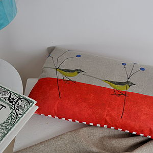 Yellow Wagtail Linen Cushion - cushions