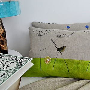 Wren And Grass Linen Cushion