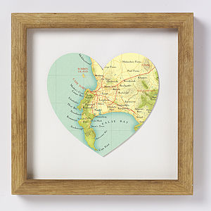 Cape Town Map Heart Print - art & pictures
