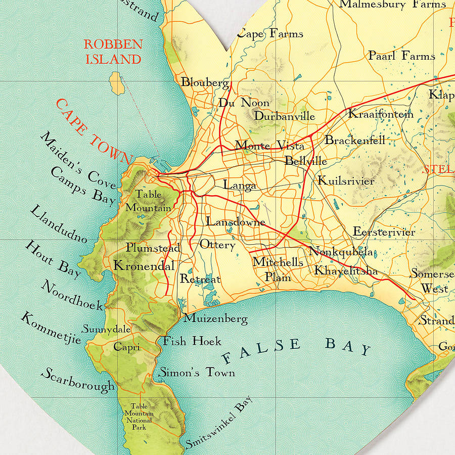 cape town map heart print by bombus off the peg notonthehighstreetcom