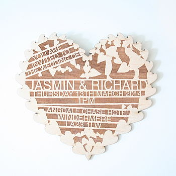 Etched Wooden Wedding Invitation