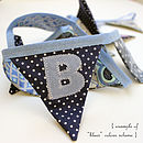 Example of personalised bunting in blues