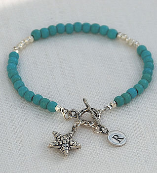 December - Turquoise gemstone with a starfish charm