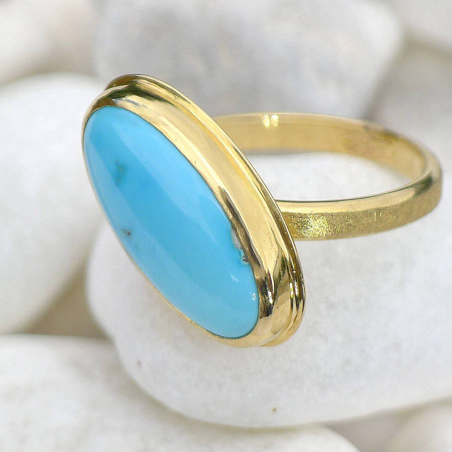 turquoise ring in 18ct gold size n by lilia nash jewellery