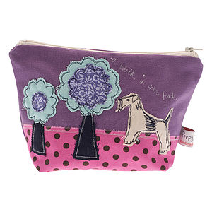 Embroidered Big Make Up Bag Dog - make-up bags