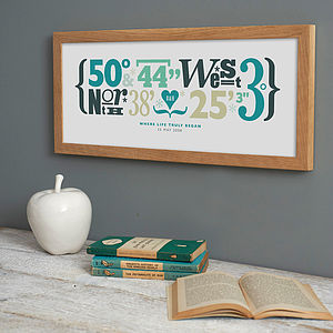 Personalised Coordinates Print - treasured locations & memories