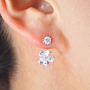 Cubic Zirconia Stud Earrings With Flower Drop - rings