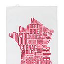 French Cheese And Wine Map Tea Towel