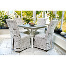 French Country Linen Covered Dining Chair