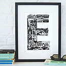Edinburgh print with black frame and mount