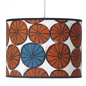 Wheels Hand Screen Printed Drum Lampshade - lighting