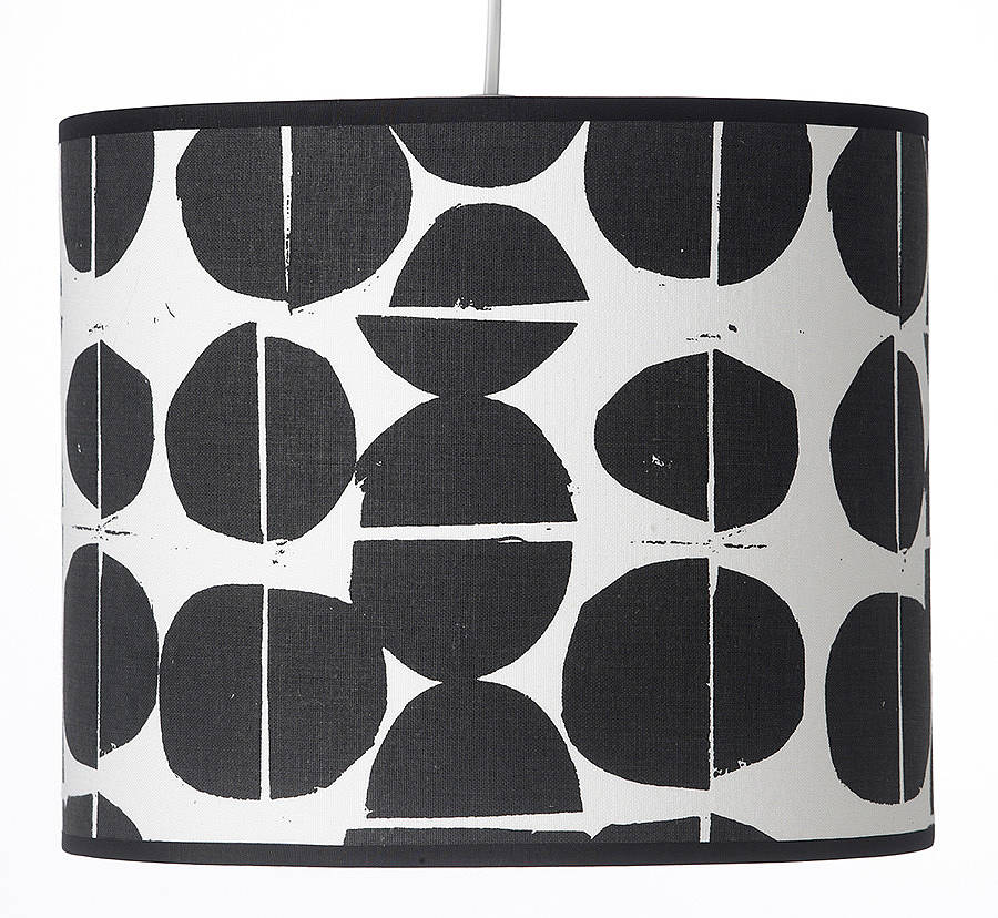 Coins Hand Screen Printed Drum Lampshade