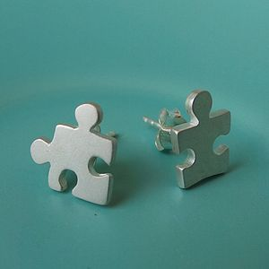 Silver Jigsaw Stud Earrings - earrings