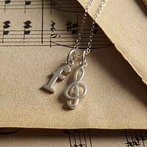 Silver Treble Clef Necklace - necklaces & pendants