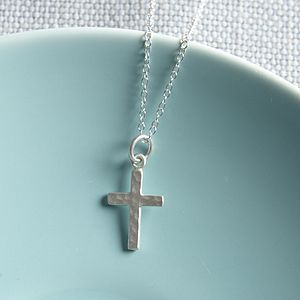 Silver Cross Necklace - christening gifts