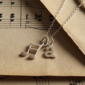 Silver Music Note Necklace - for music fans