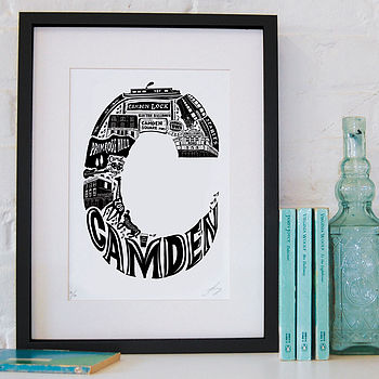 Camden print with black frame and white mount
