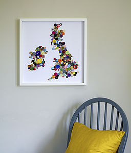 Framed British Isles Button & Badge Artwork - contemporary art