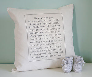 Personalised Baby Wish Cushion - children's room