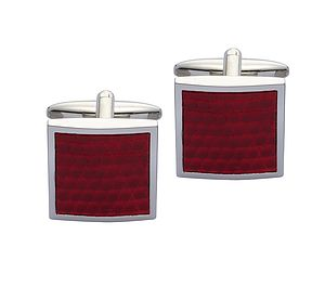 Red Leather Cufflinks