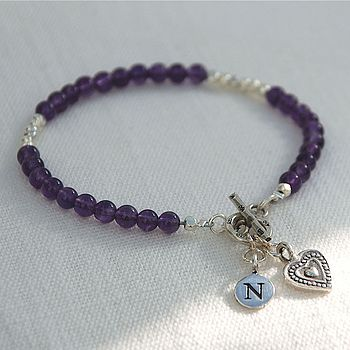 February - Amethyst gemstone with printed heart charm