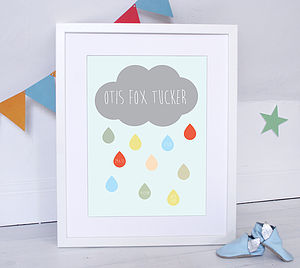 Personalised Cloud Name Print - canvas prints & art for children
