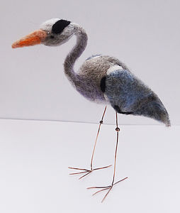 Handmade Needle Felt Grey Heron - sculptures