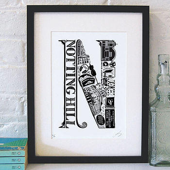 Notting Hill print with black frame and white mount