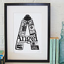 Angel print with black frame and white mount