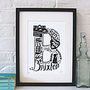 Brixton print with black frame and white mount