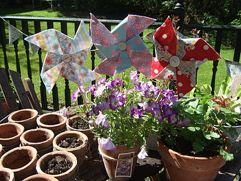 Colouful Fabric Seaside Pinwheels