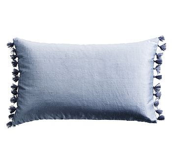 Silk Tassel Cushion Denim Blue