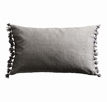 Silk Tassel Cushion Grey