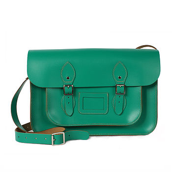 Large Leather Satchel Bright Collection - Green