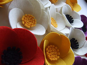 Yellow Felt Poppy Brooch - corsages