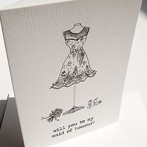 'Will You Be My Maid Of Honour?' Card - wedding stationery