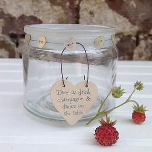 Heart Button Glass Jar With Heart Message Tag - vases