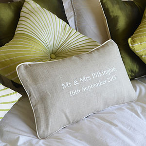 Embroidered Wedding Cushion - gifts for the home