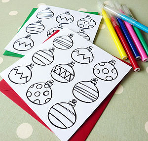 Colour In Christmas Bauble Cards - create your own cards