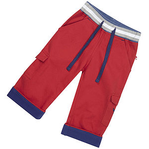 Red Rib Waist Trousers