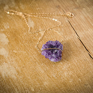 Purple Amethyst Druzy Necklace - necklaces & pendants