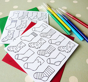 Colour In Christmas Stocking Cards - create your own cards