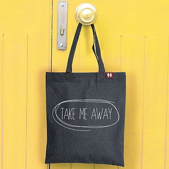 'Take Me Away' Denim Tote Bag